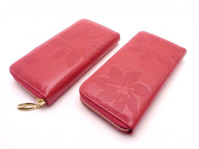 Kožená peněženka s květinami MCPVKK-93 růžová