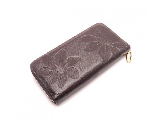 Kožená peněženka s květinami  MCPVKK-98 tmavě  hnědá