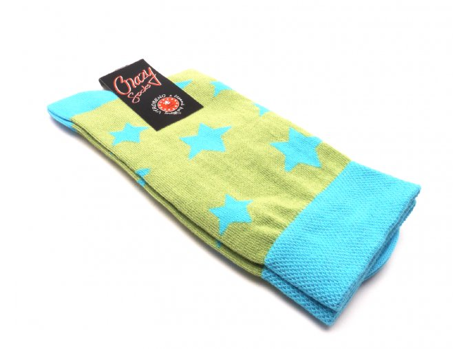 Ponožky hvězdy zeleno modrý