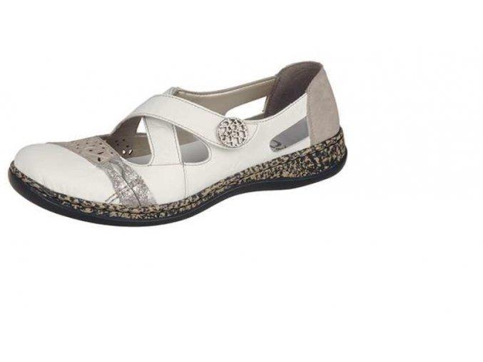 Krásná bílá obuv se stříbrným doplňkem 463h7-80