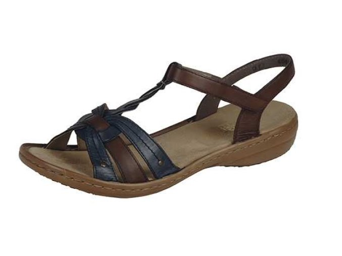 Dámské sandály v hnědo modré kombinaci 60838-12