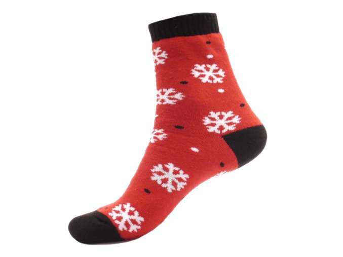 Zimní termo ponožky - Vločky červená