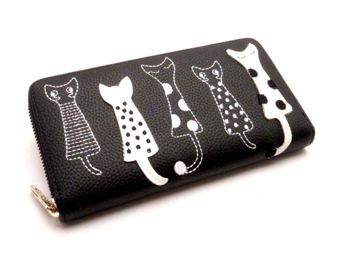 Dámská peněženka kočky černá