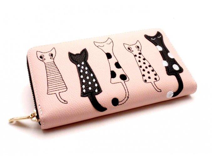 Dámská peněženka kočky pudrová