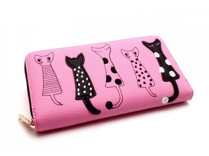Dámská peněženka kočky růžová