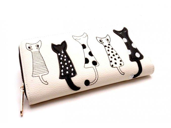 Dámská peněženka kočky světle slonovinová