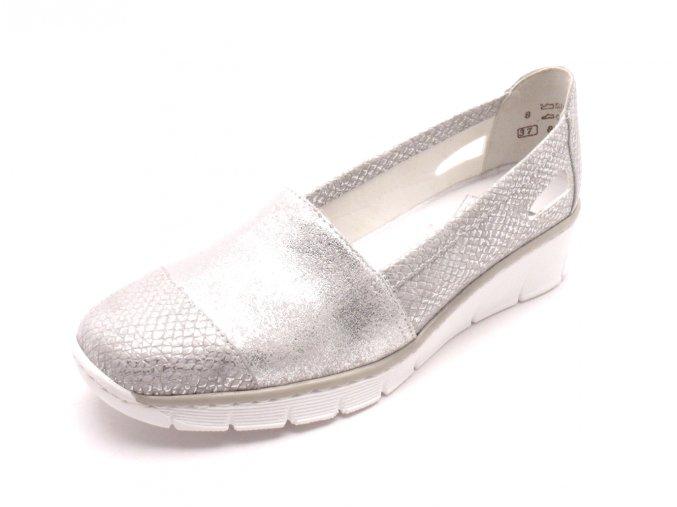 Dámské stříbrné mokasíny na klínku 53758-90