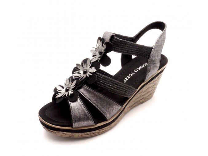 Dámské černé sandály na klínku 2-28302-098