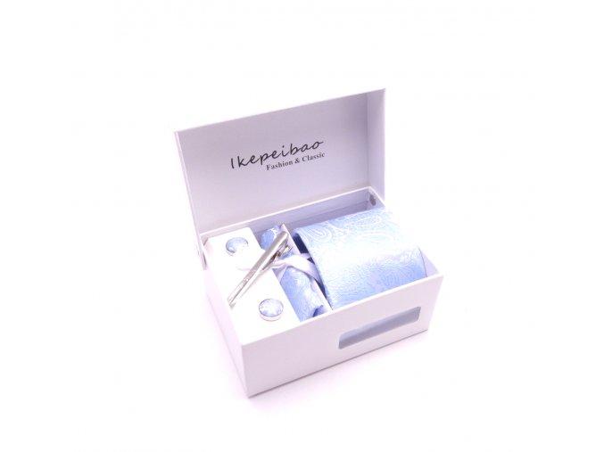 Dárkový set kravata, manžetové knoflíčky, kapesníček a spona - světle modrá