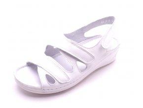 Dámské bílé kožené sandály 91556/4