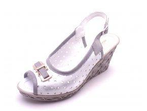 Dámské bílo-stříbrné Espadrilky na klínku 811170