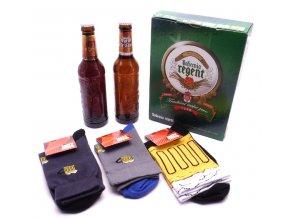 Dárkové balení 2 piva a troje pivní ponožky