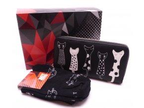 Dárkový set Peněženka Kočky černá + Ponožky Kočky černé v dárkové krabičce