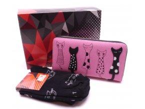 Dárkový set Peněženka Kočky růžová+ Ponožky Kočky černé v dárkové krabičce
