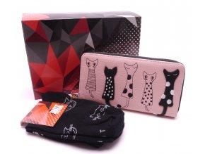 Dárkový set Peněženka Kočky pudrová+ Ponožky Kočky černé v dárkové krabičce