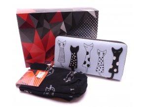 Dárkový set Peněženka Kočky sv.modrá+ Ponožky Kočky černé v dárkové krabičce