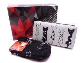 Dárkový set Peněženka Kočky sv.zelená+ Ponožky Kočky černé v dárkové krabičce
