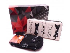 Dárkový set Peněženka Kočky slonovinová + Ponožky Kočky černé v dárkové krabičce