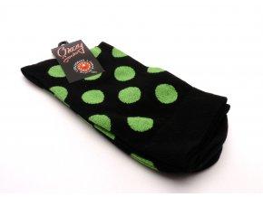 Ponožky černý základ kolečka zelená