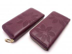Kožená peněženka s květinami  MCPVKK-94 fialová