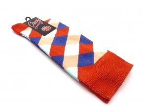 Ponožky kosočtverec malý- červený