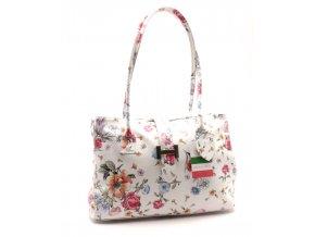 kabelka 10-09 bílá s květy