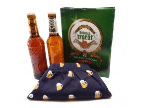 Dárkové balení 2 piva a trenýrky s pivem - tm.modré