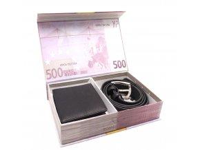 Dárkové balení peněženka a opasek EUR BLACK