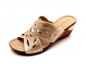 Dámské zlaté pantofle na klínku 2-27504-960