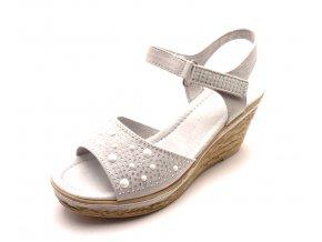 Dámské světle šedé sandály na klínku 2-28309-207