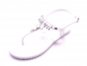 Dámské bílé žabky s kamínky SJ81904-2