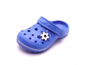 Dětské modré pantofle SU81828 fotbal
