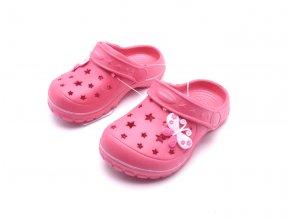 Dětské růžové pantofle SU81828 motýl