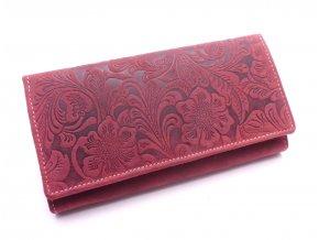 Dámská peněženka s ornamenty a klopou D594-38 DARK RED