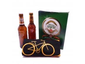 Dárkové balení 2 piva a černé tričko s cyklistickým motivem