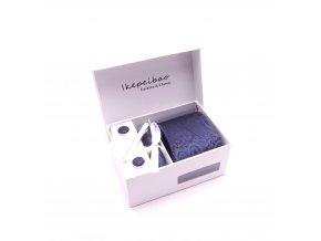 Dárkový set kravata, manžetové knoflíčky, kapesníček a spona - tmavě modrá