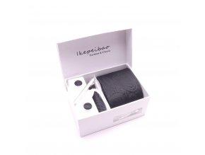 Dárkový set kravata, manžetové knoflíčky, kapesníček a spona - černá