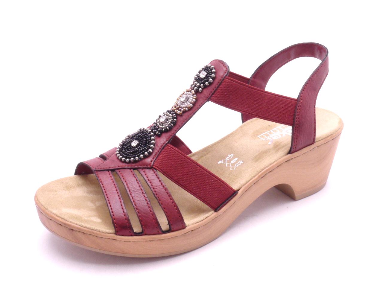 fa991bccc79f Rieker Dámské červené sandály na podpatku V28S8-35 Velikost  41