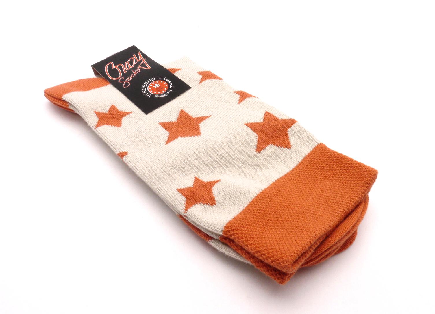Crazy Sock Ponožky hvězdy oranžový velikost: 41-46