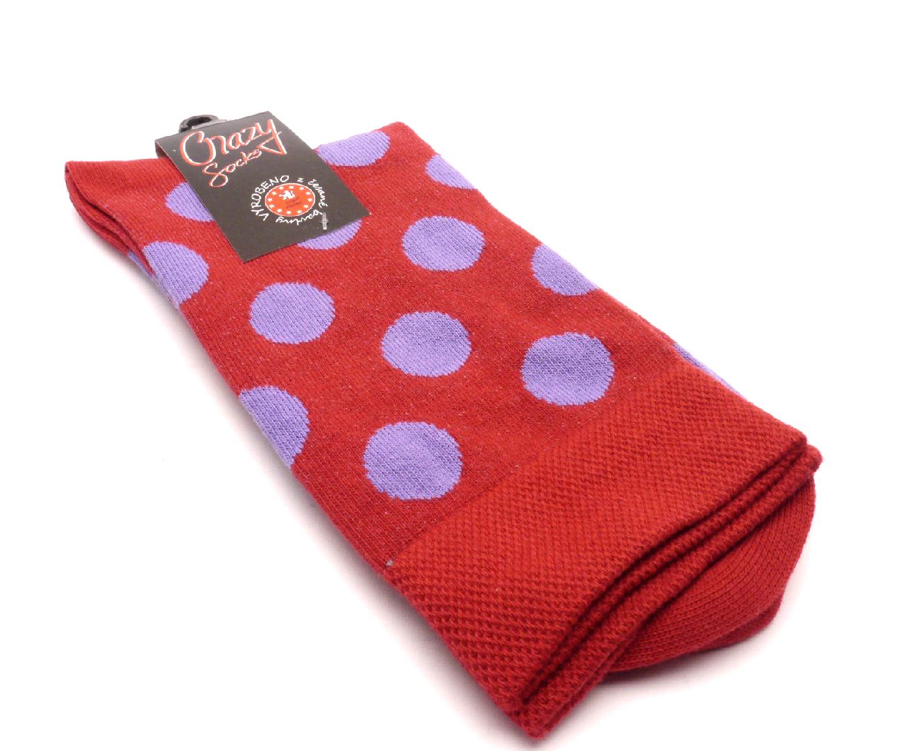 Crazy Sock Ponožky kolečka velký červený základ velikost: 41-46