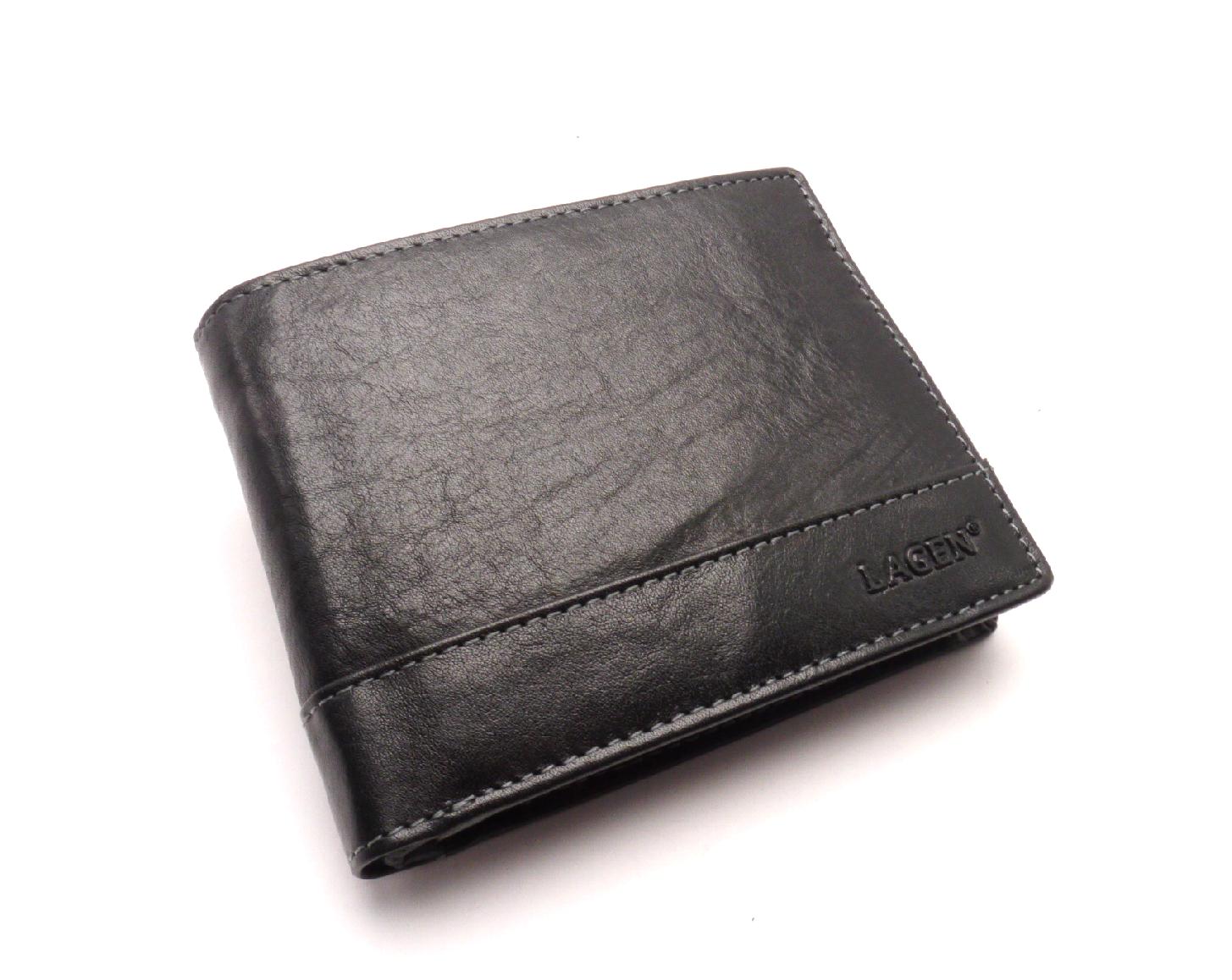 Lagen Pánská kožená peněženka v-76/t BLACK