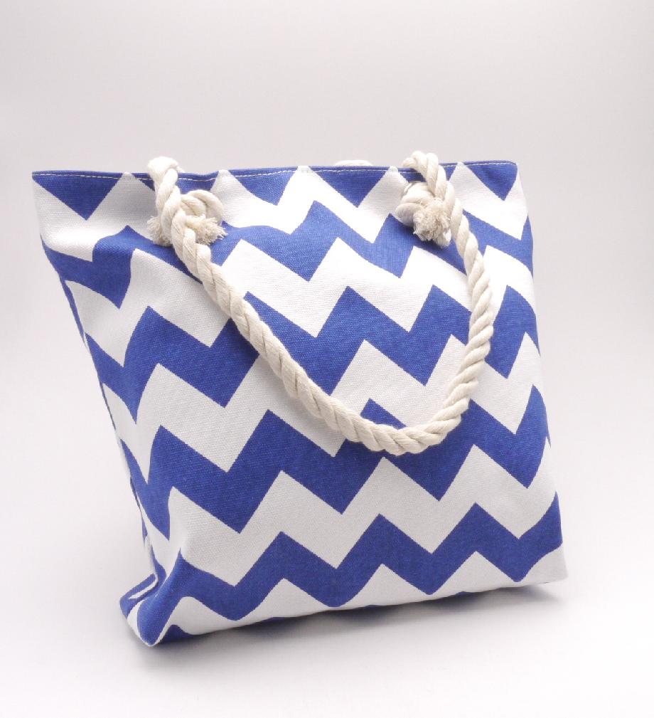 Plátěná taška- modrá cik cak