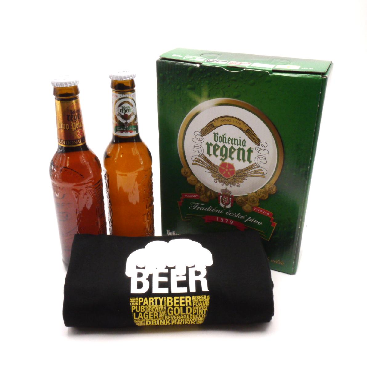 MCM Dárkové balení 2 piva a černé tričko s pivem velikost: L