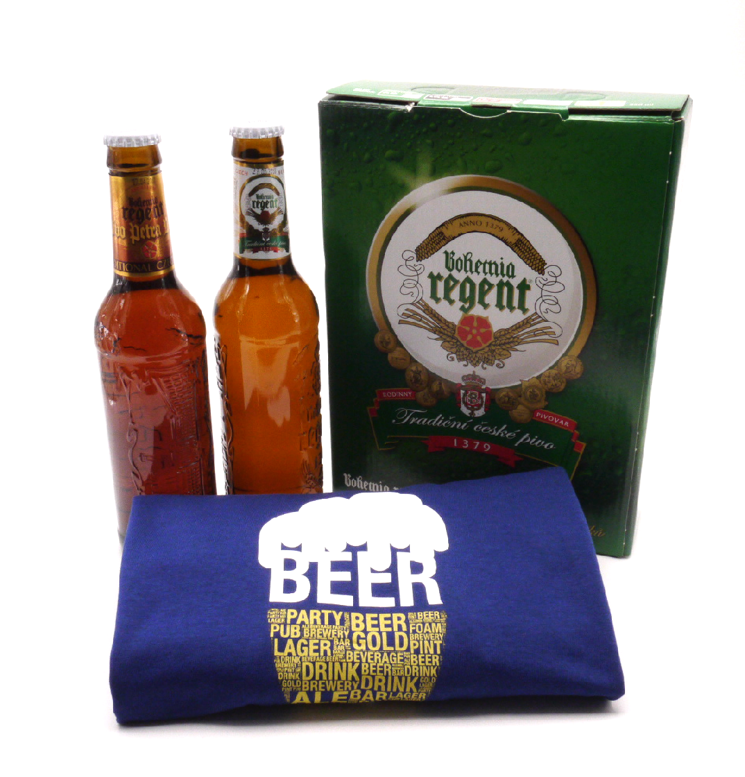 MCM Dárkové balení 2 piva a modré tričko s pivem velikost: L