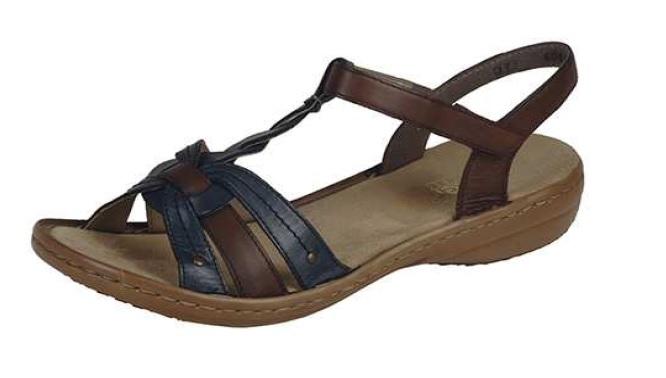 Rieker Dámské sandály v hnědo modré kombinaci 60838-12 Velikost: 41