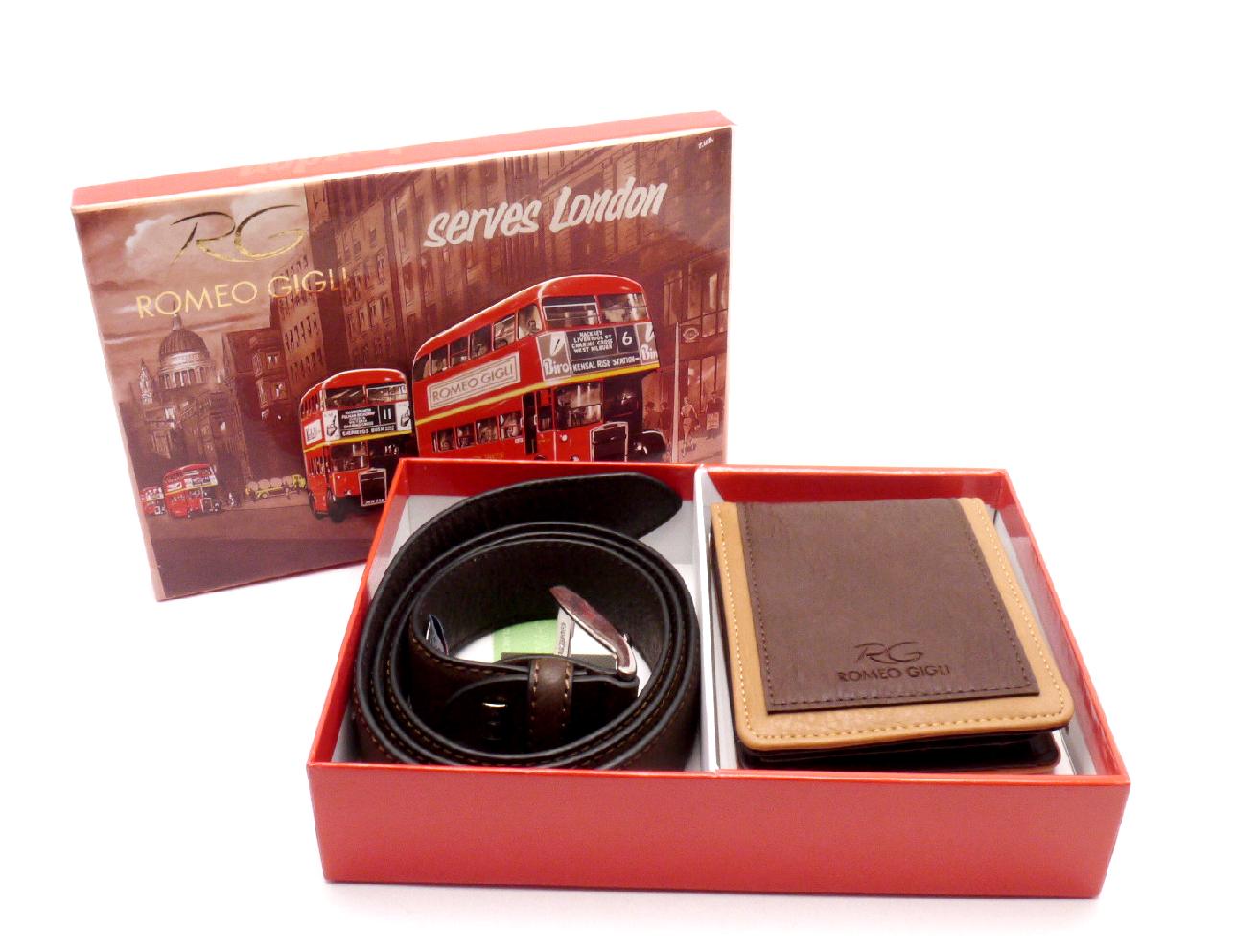 Romeo Gigli Dárkové balení peněženka a opasek LONDON BROWN