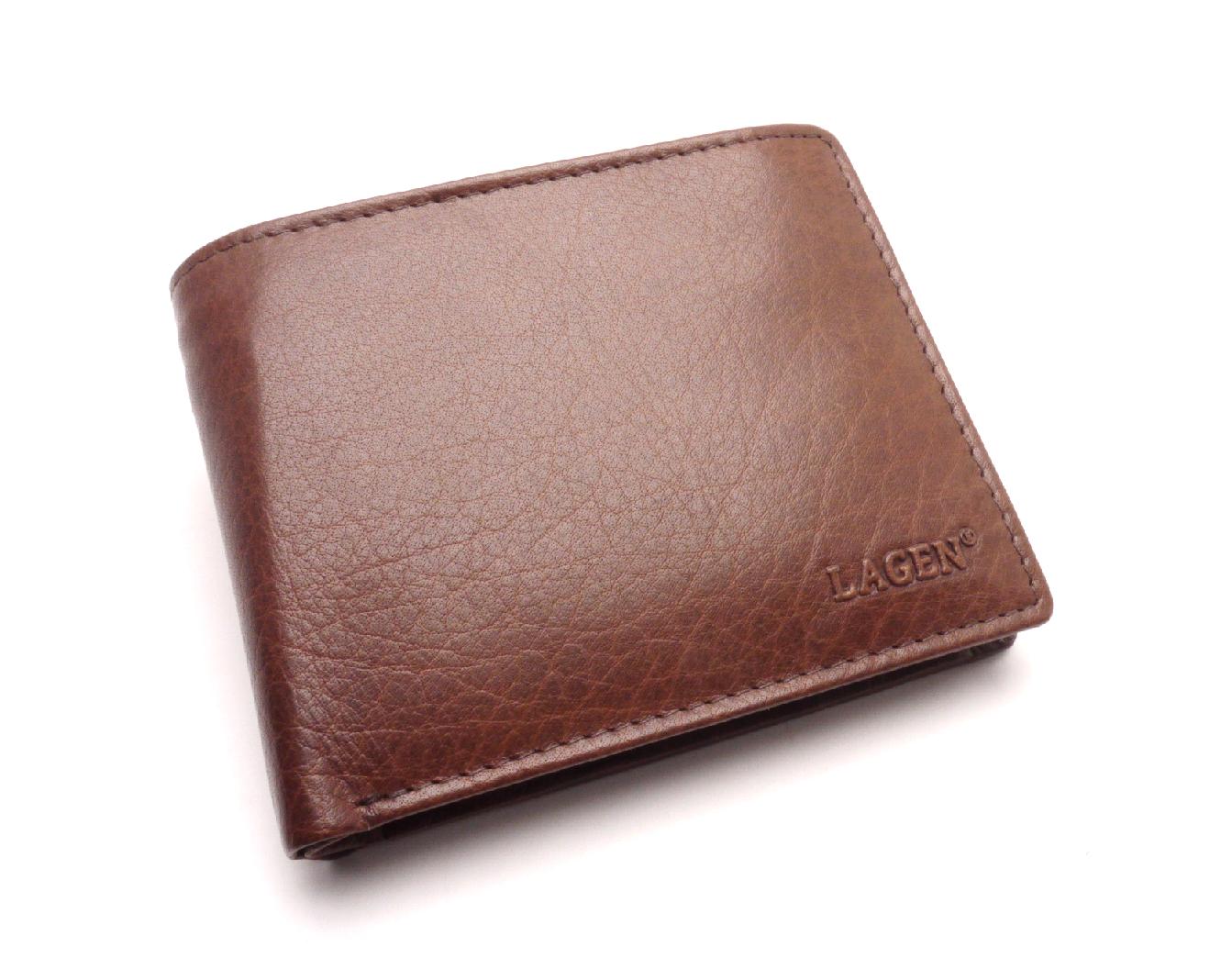 Lagen Pánská kožená peněženka W-8053 BROWN