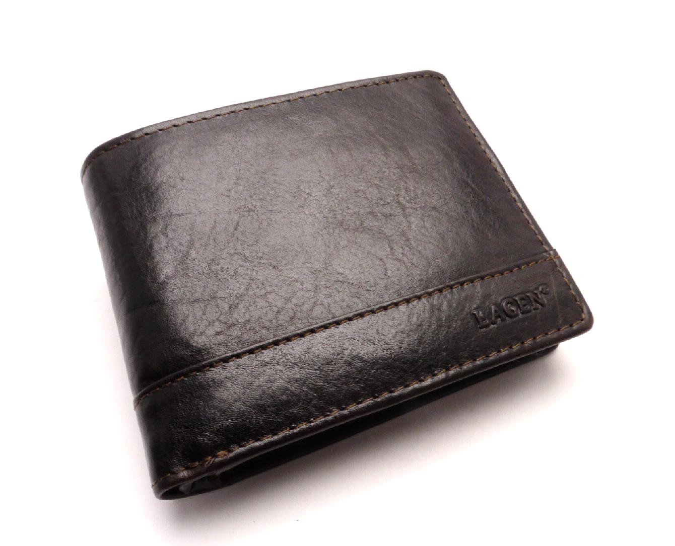 Lagen Pánská kožená peněženka V-76/T DARK BROWN