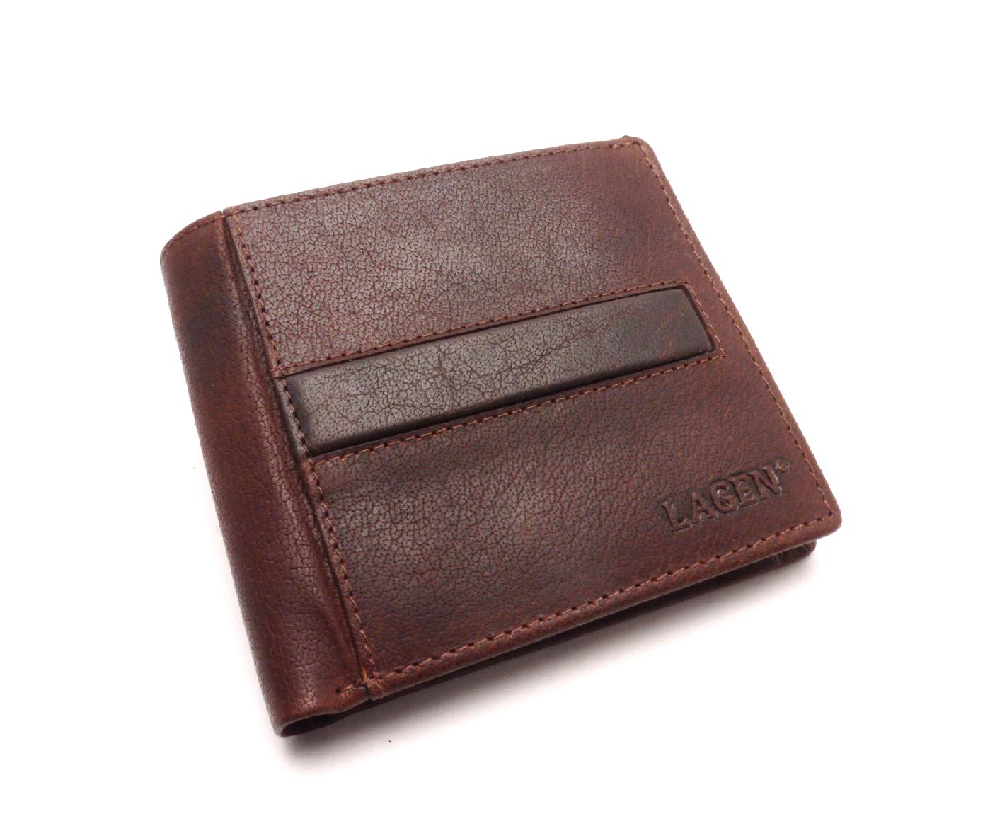 Lagen Pánská kožená peněženka PL-106 TAN