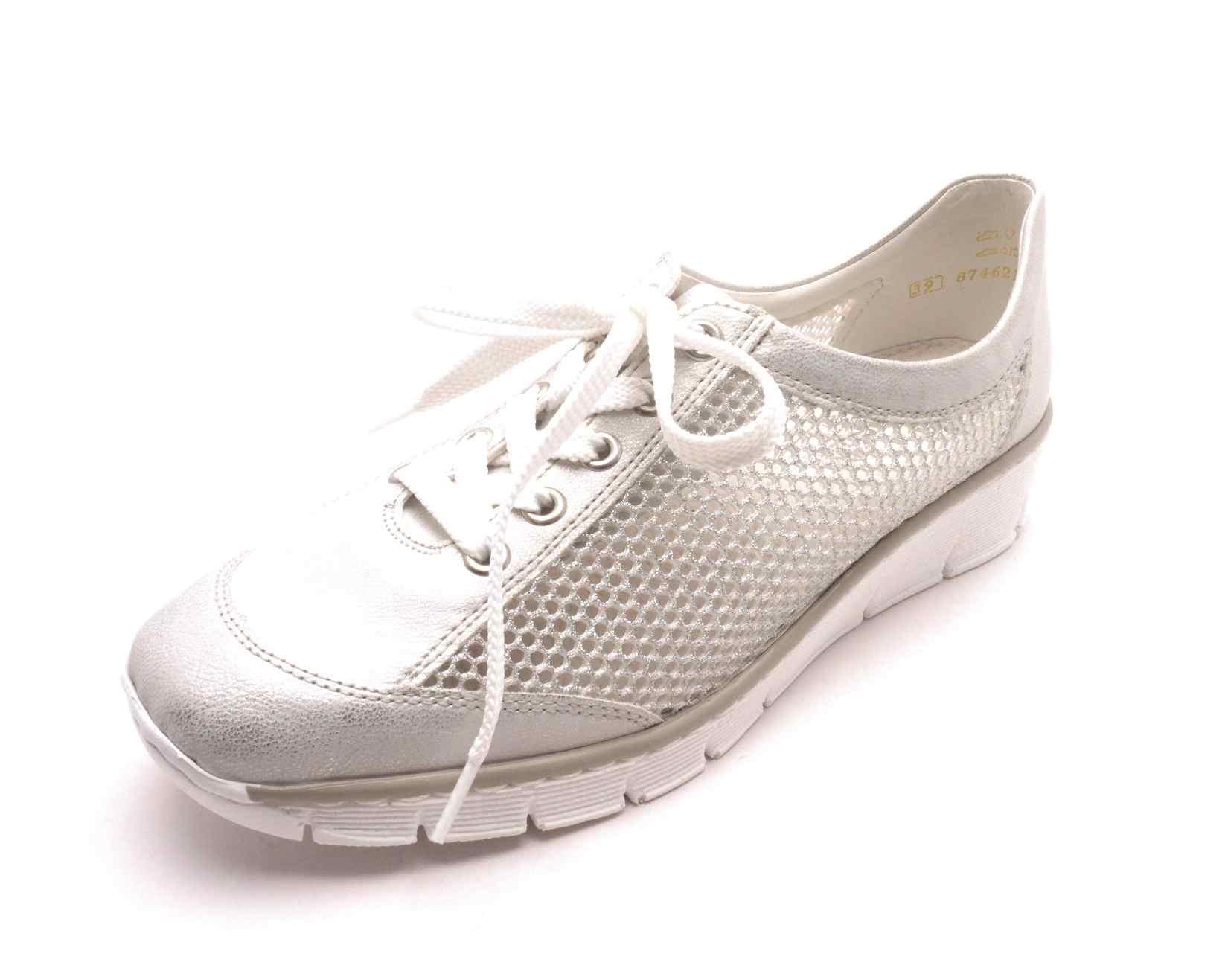 Rieker Dámské stříbrné tenisky na klínku 537P0-80 Velikost: 39